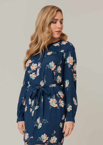 Flowy summer dress with long sleeves (Blue) Indigo