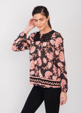 Dark floral peasant blouse BLACK
