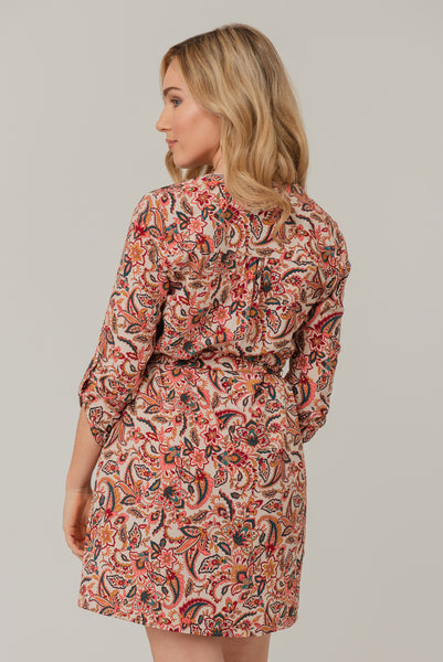 Abstract floral print shirt dress Multi Red