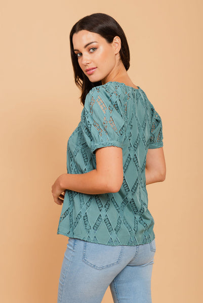 Blue diamond textured top Peacock