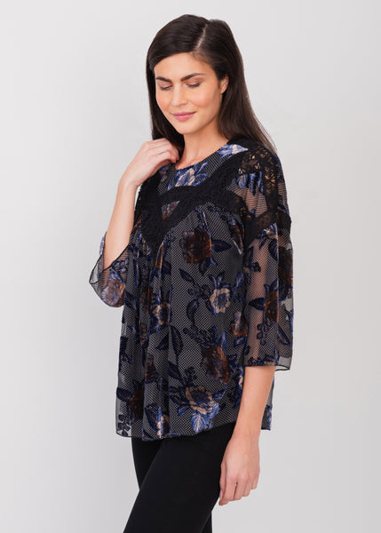 Dark sheer velvet blouse Black