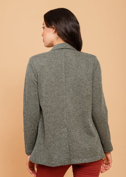 Textured Grey Blazer Olive