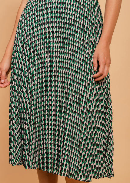 Intense geometric print skirt Green
