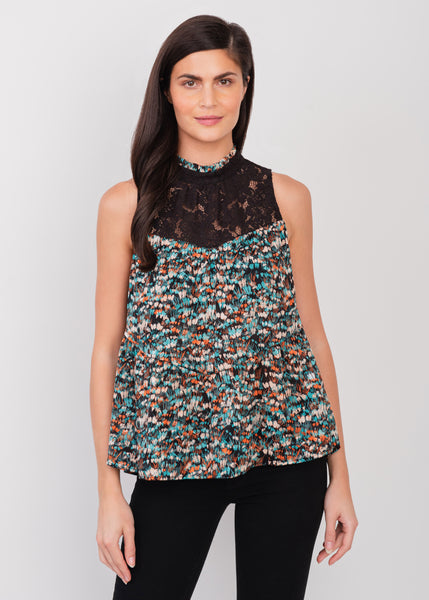 Sleeveless high-collar top BLACK