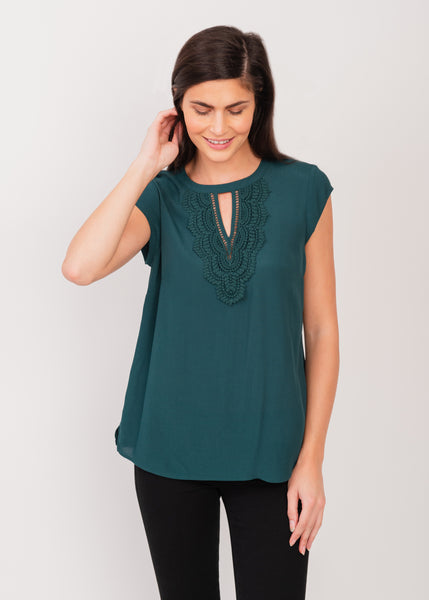 Crochet Top with keyhole detail Deep Teal