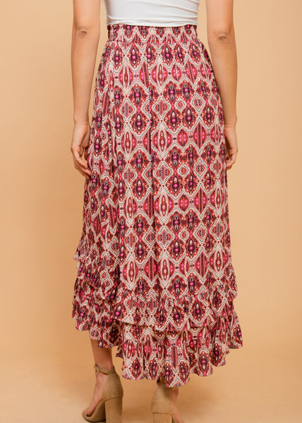 Tribal print boho skirt Clay