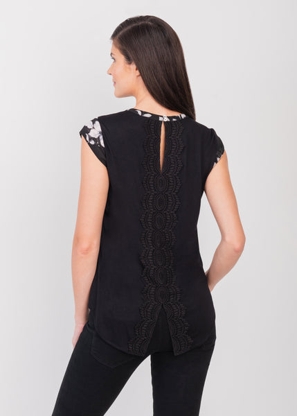 Black cap sleeve tunic BLACK
