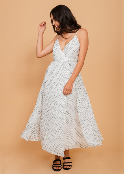 Sleeveless noodle-strap summer dress Ivory