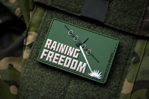Raining Freedom Forest Green Morale Patch