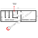 No 216 | 32x10 ft Site Office/CANTEEN + 3+1 Toilet | 2 in 1.
