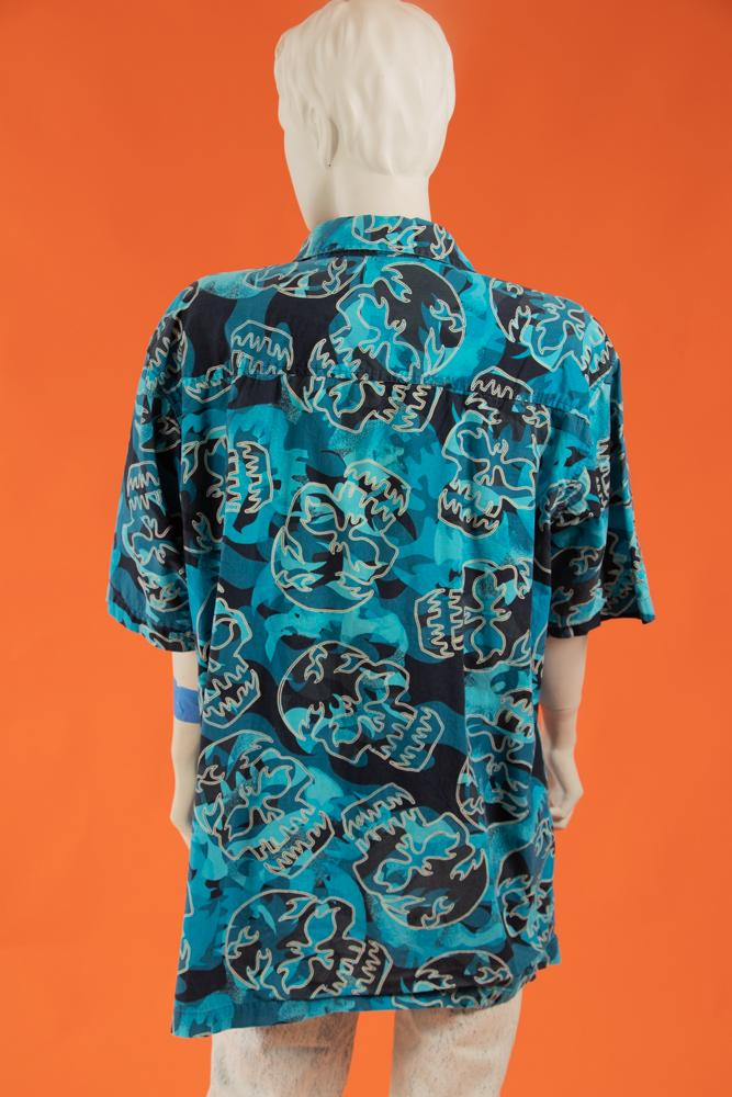 00's Camouflage Skull Button Up