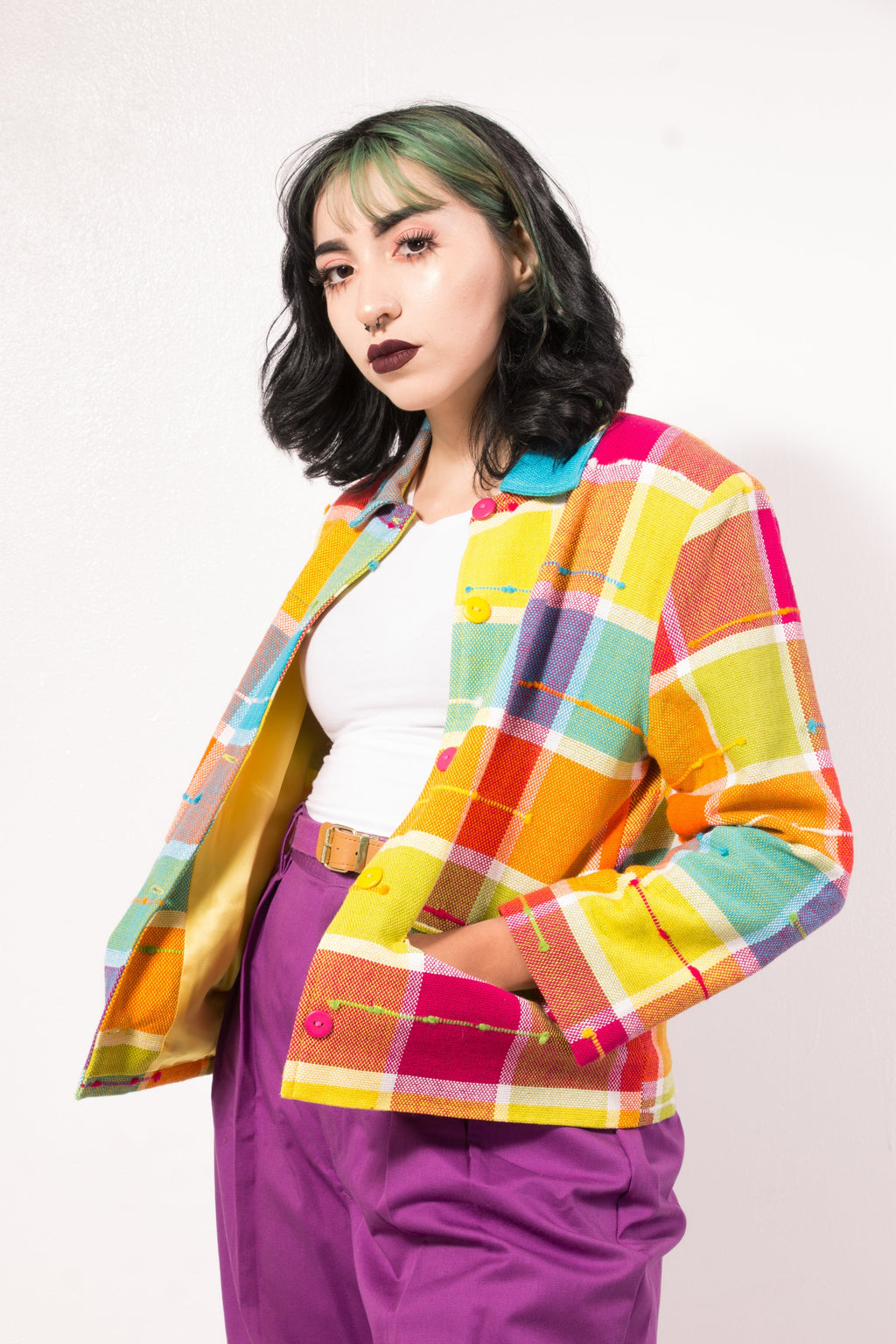 Vintage - 70's rainbow block jacket