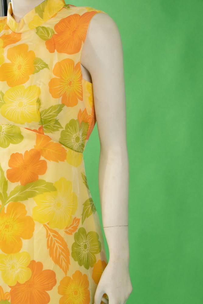 60s/70s Chiffon Floral Dress