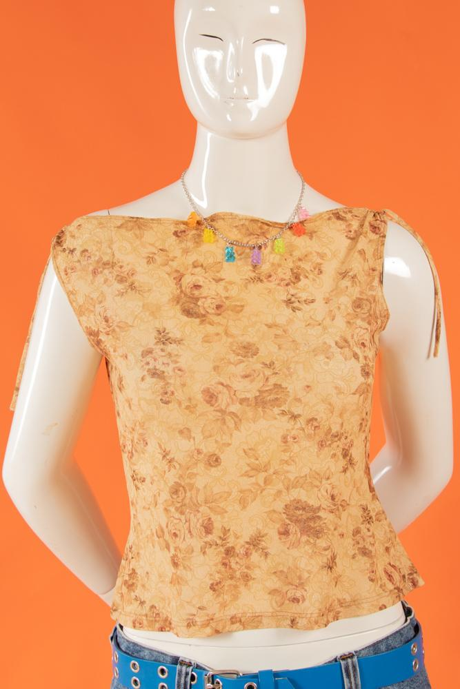 Vintage - 00's Gold Roses Top