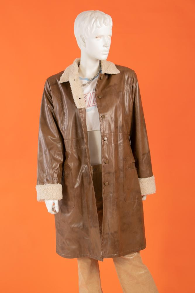 Vintage - Sherpa Lined Faux Leather Coat