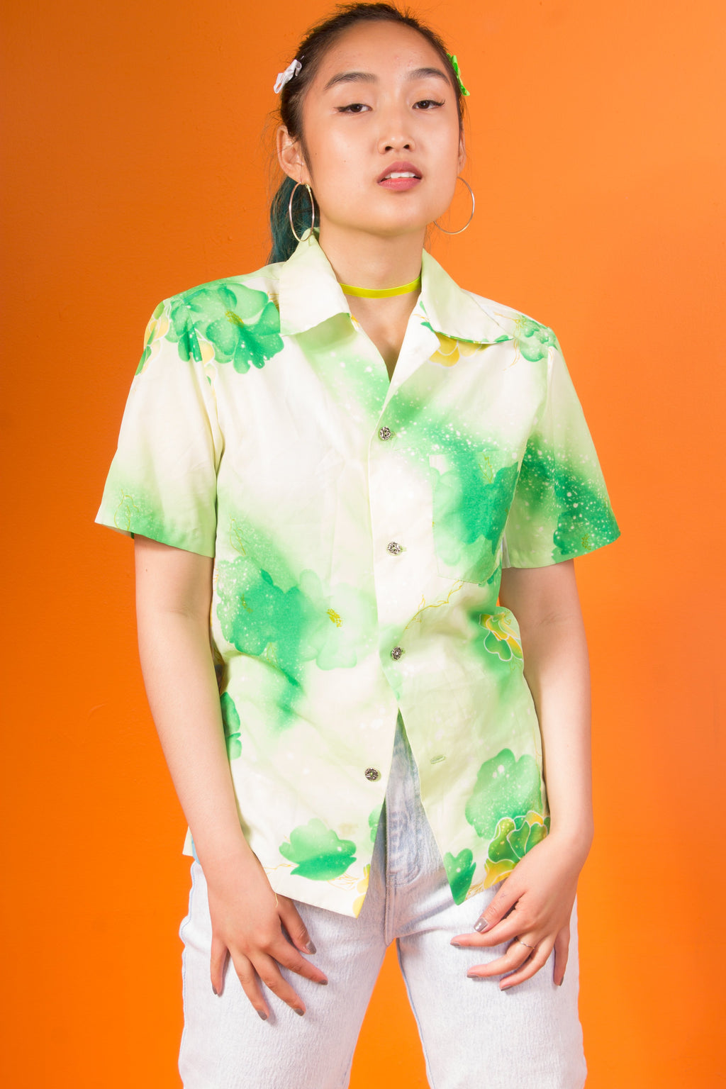 Vintage - Neon Floral Button Up