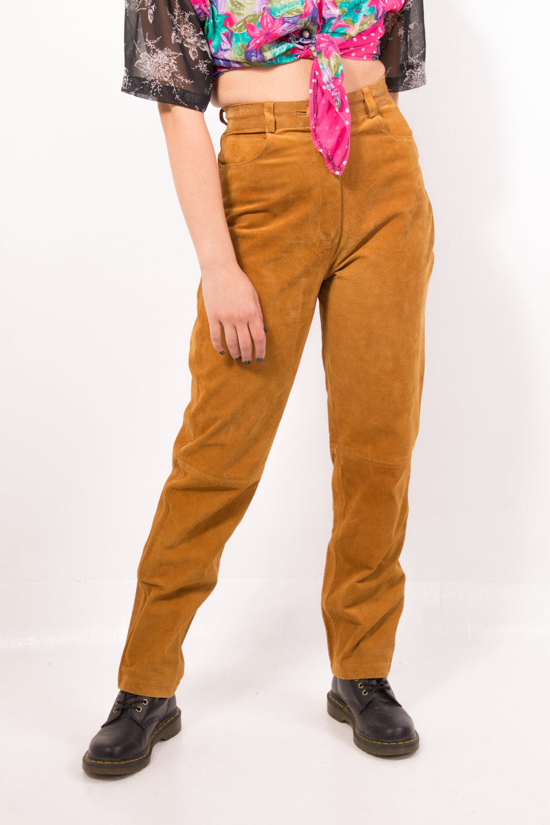 Vintage - high waist suede pants