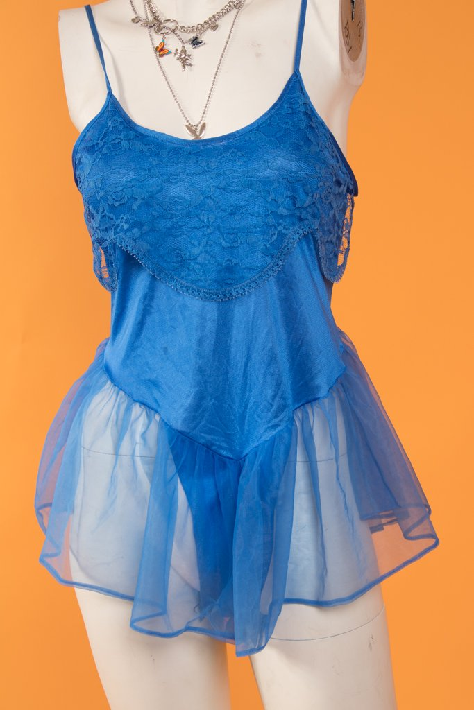 80's Royal Blue Lingerie Romper