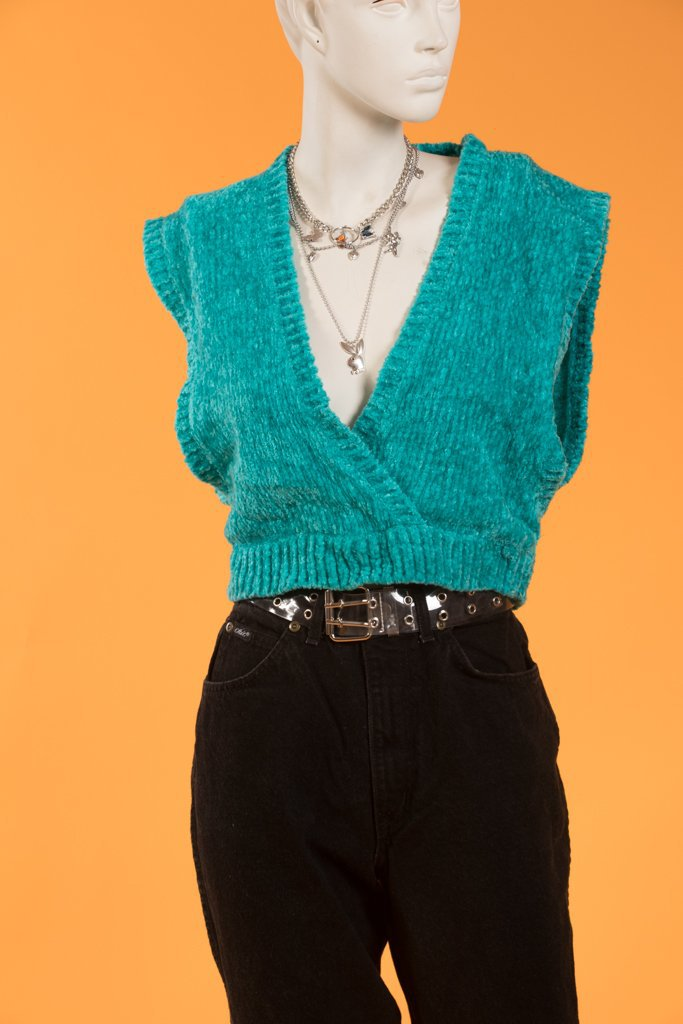 Vintage - 80's Knit Turquoise Top