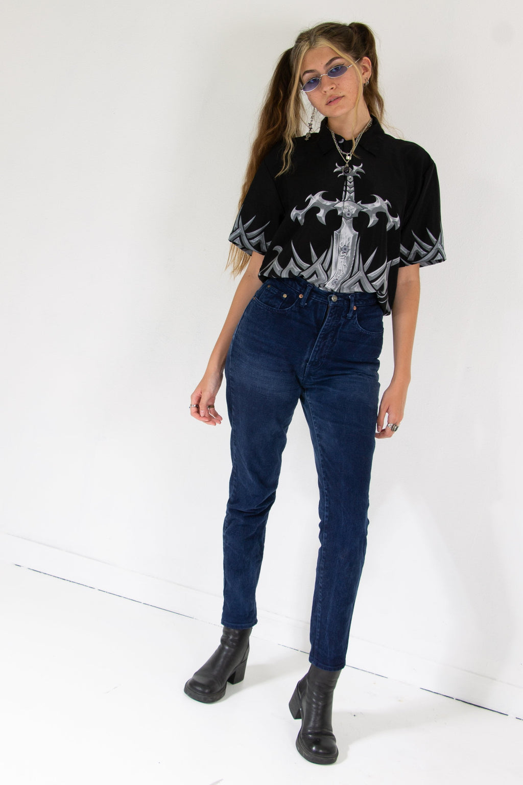 Vintage - Deep Blue Mom Jeans