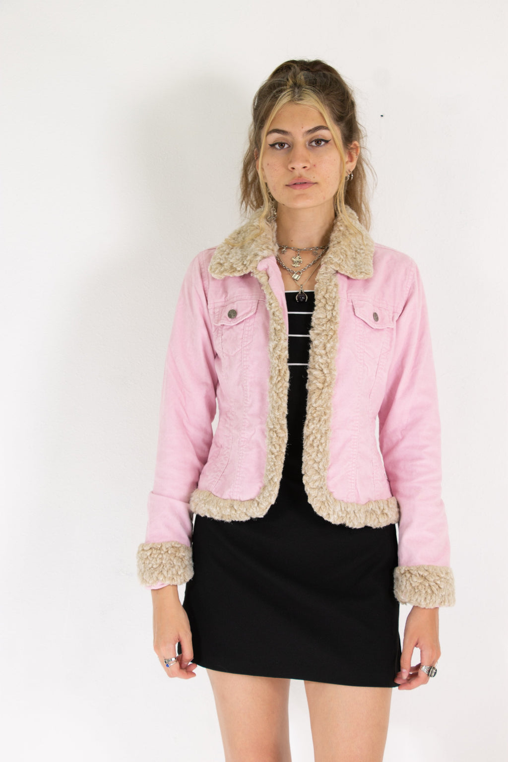 00's Pink Soft Cord Sherpa Jacket