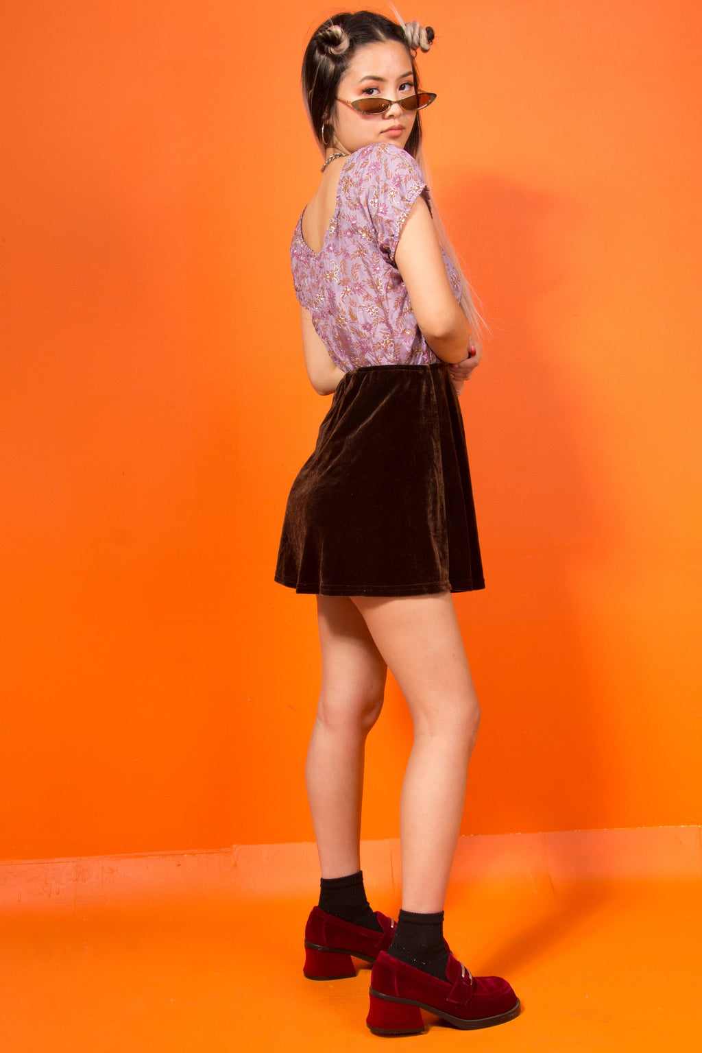Vintage - Brown velvet skirt