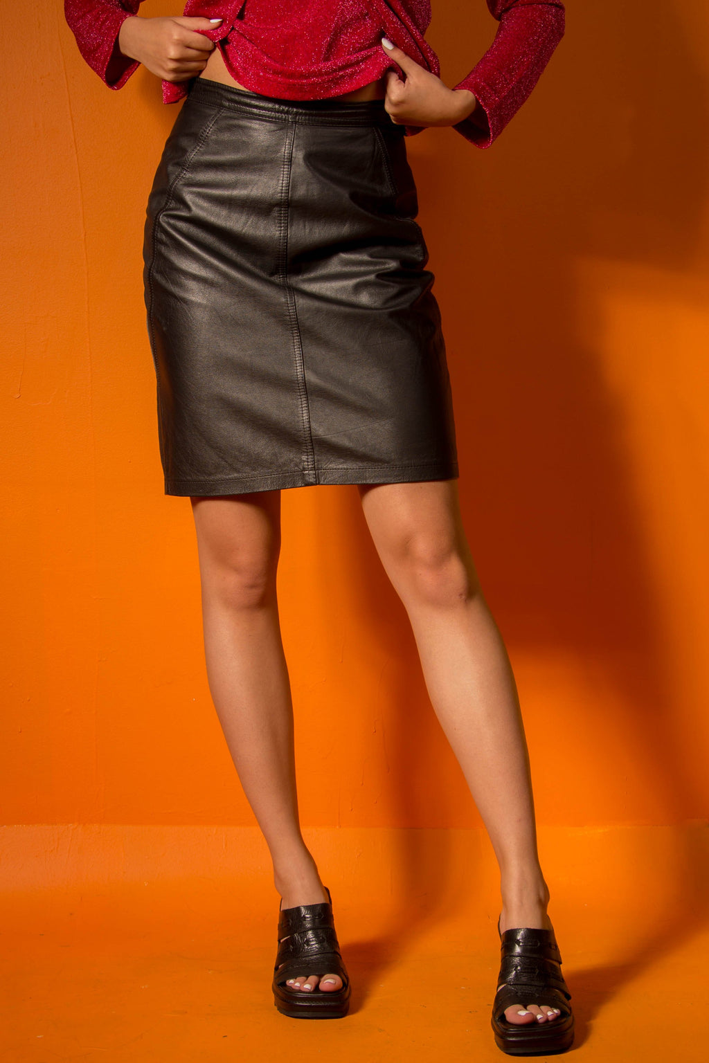 Vintage - Black Leather Pencil Skirt