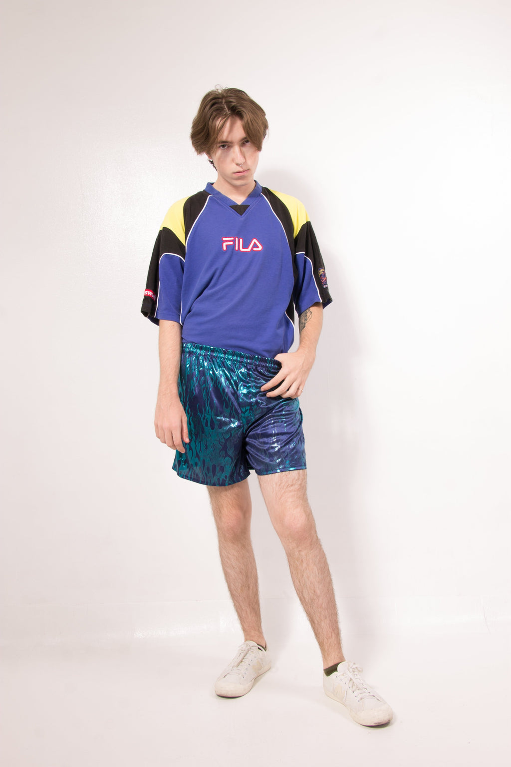 Vintage - 90's blue flames shorts