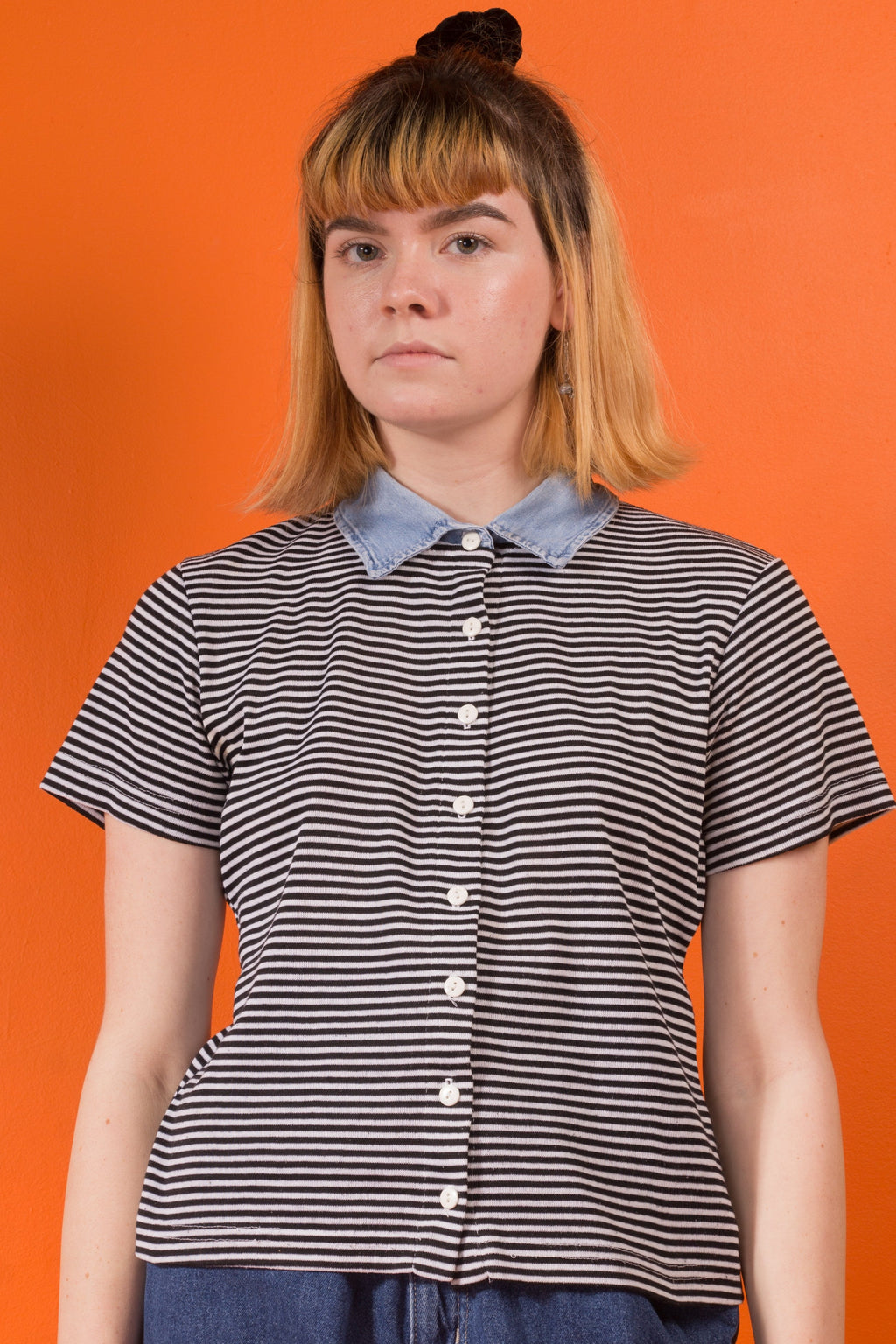 90's Denim Collar Striped Button Up