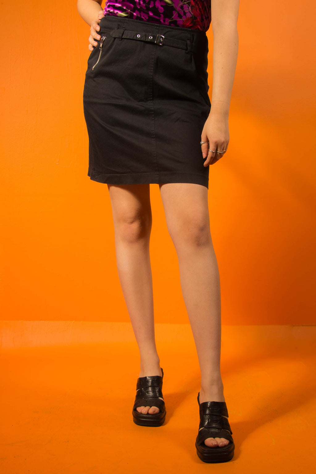 Vintage - Black Buckle Skirt