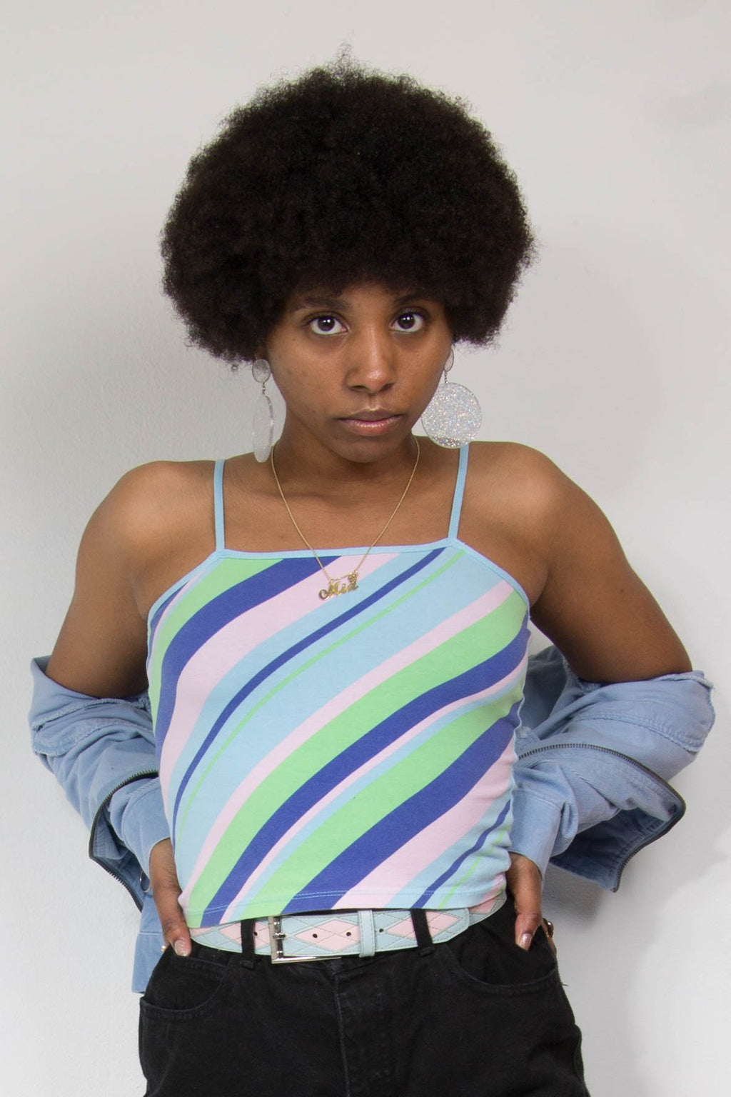 00's Candy Stripe Spaghetti Strap Top
