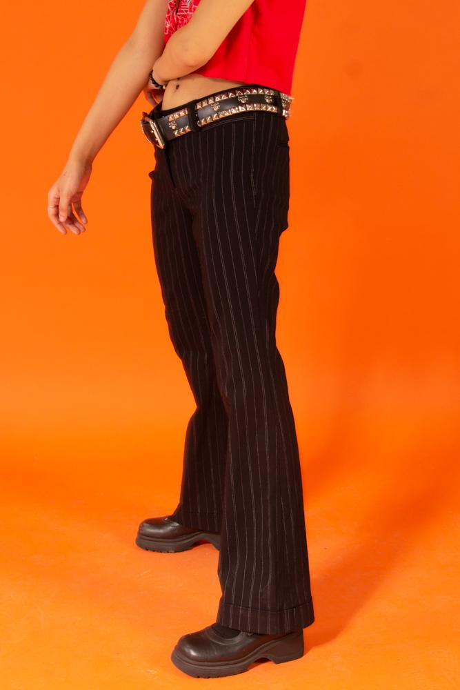 00's Black Low waist Pinstripe Pants