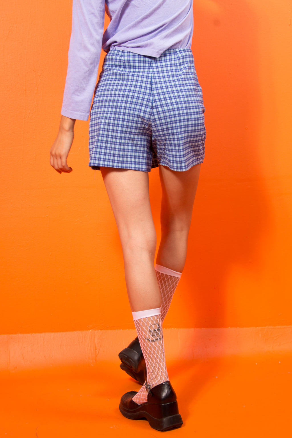 90's Blue Plaid Skort