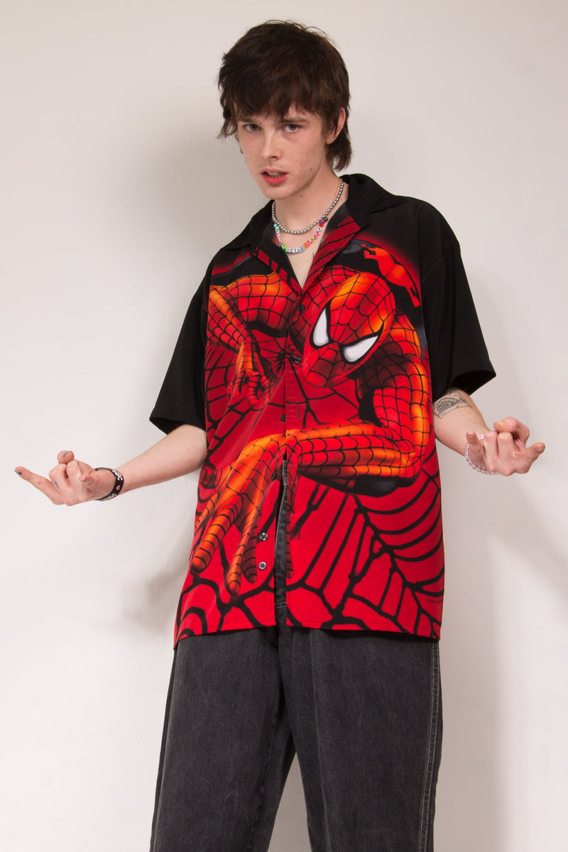 01 Spiderman Print Button Up