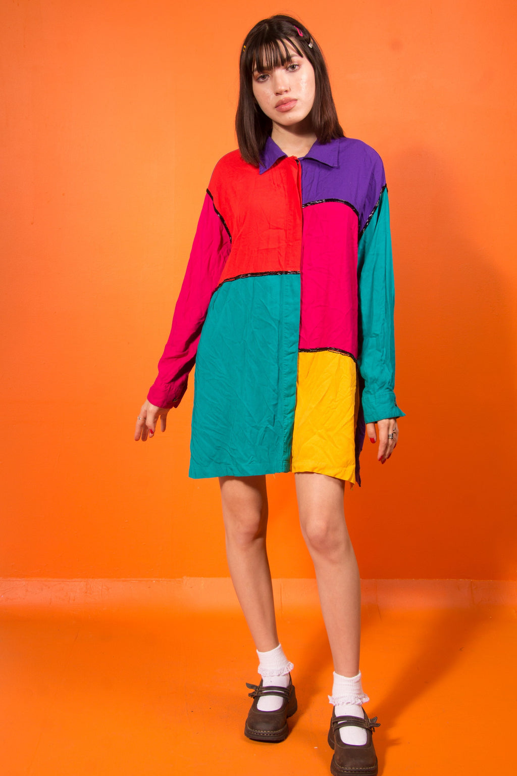 Vintage - color block button up