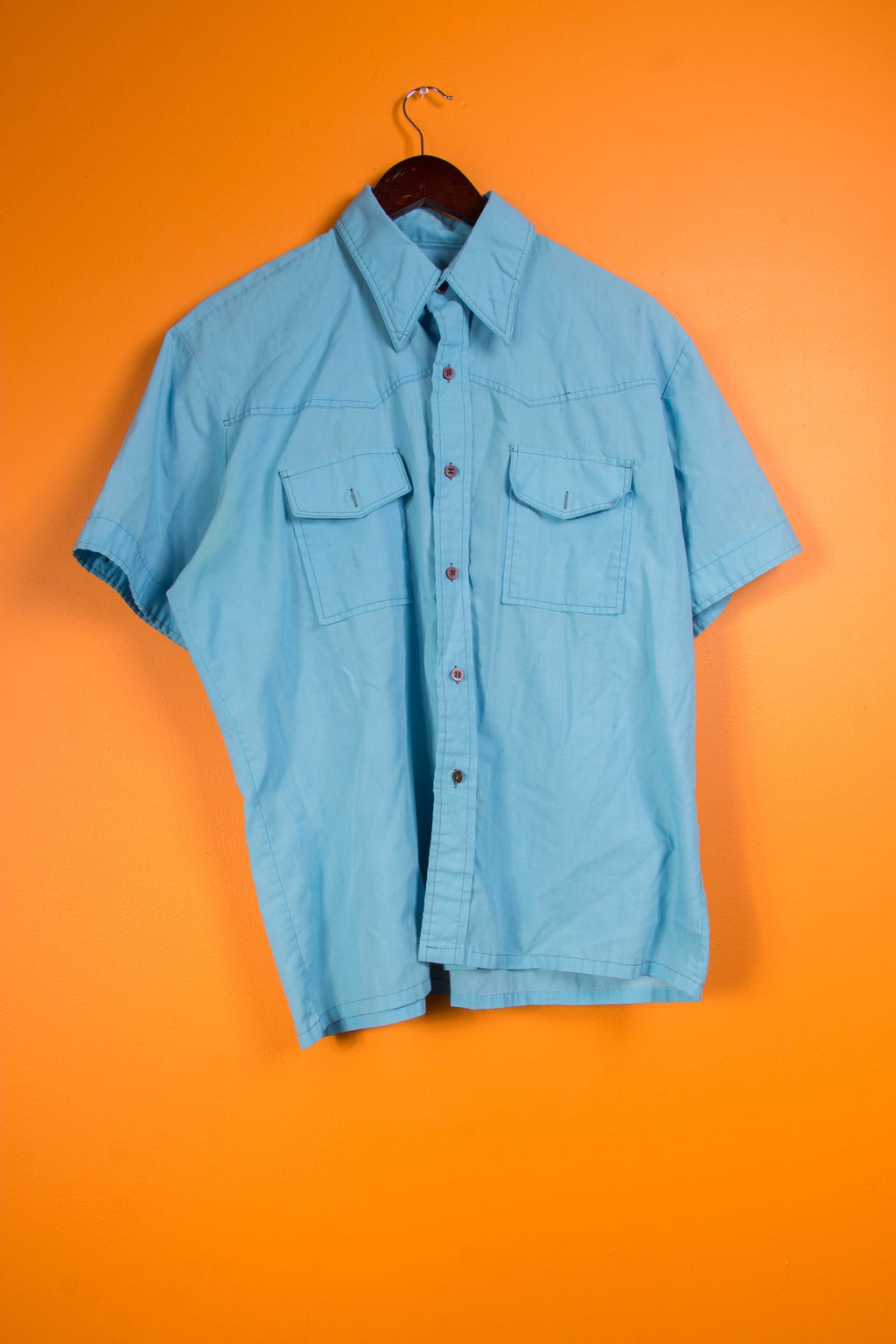 Vintage - blue press button up