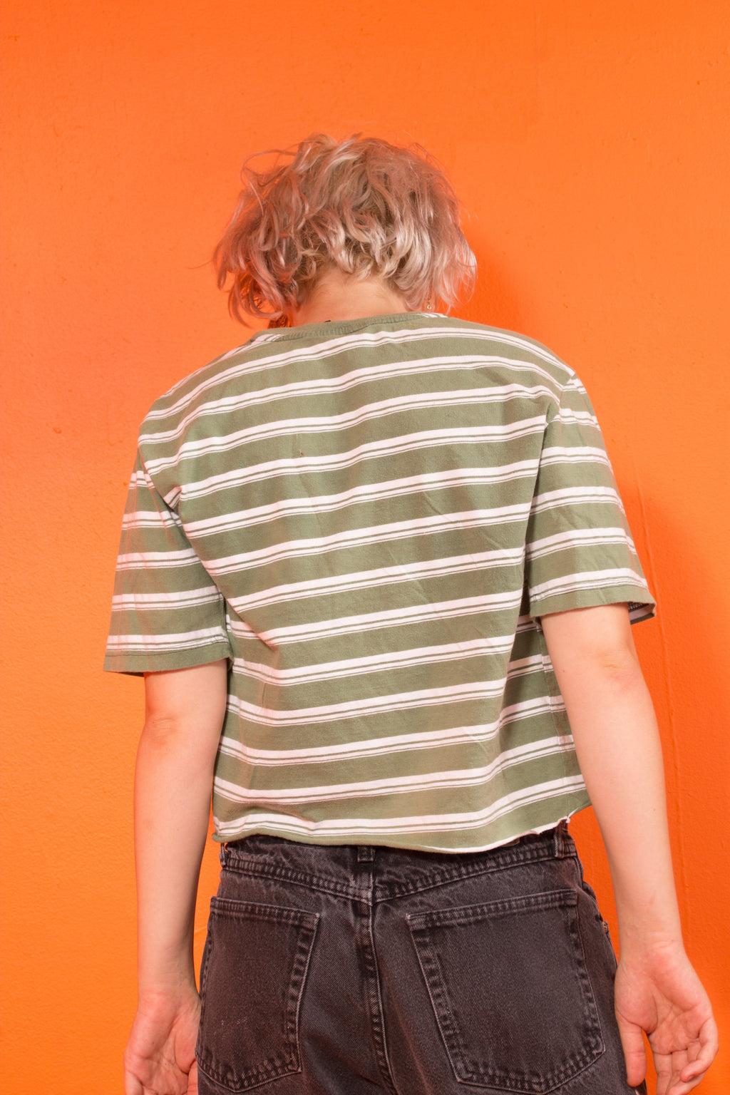 90s Verde stripe crop shirt