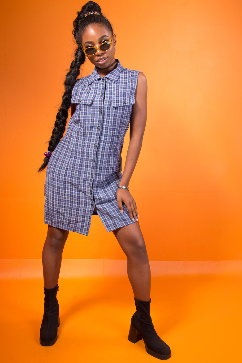 Vintage - Plaid Button Up Dress
