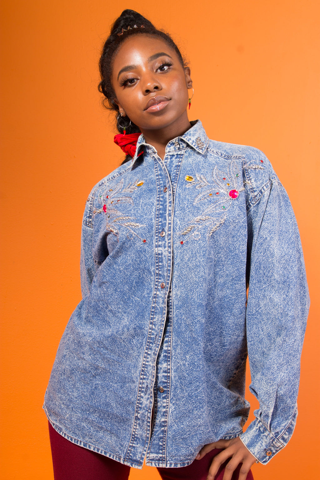 VINTAGE - JEWELED JEAN BUTTON UP
