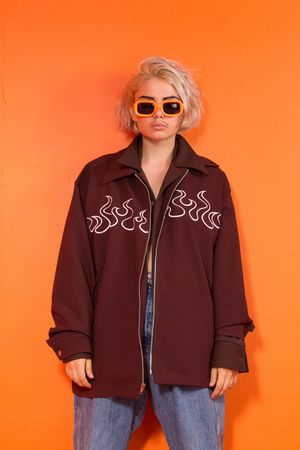 Johnny suede embroidered flame jacket