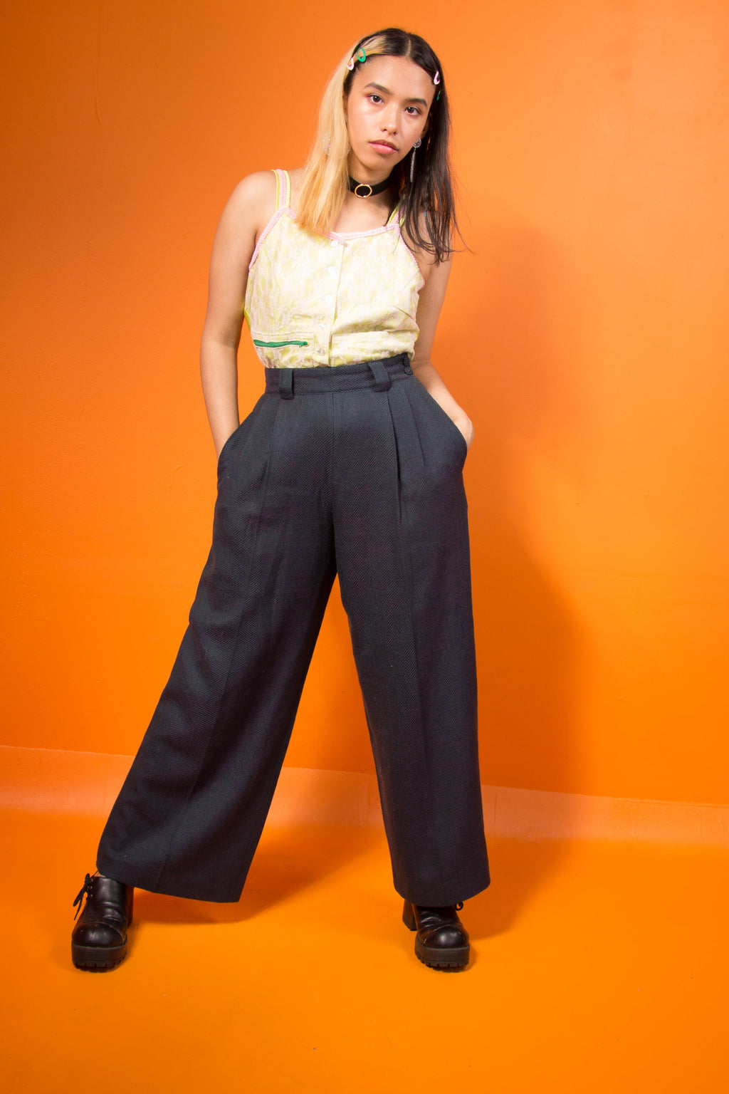 Vintage - Wide Leg Pleated Pants