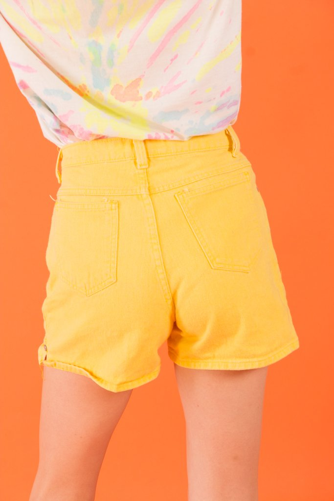Vintage - Yellow High Waisted Jean Shorts