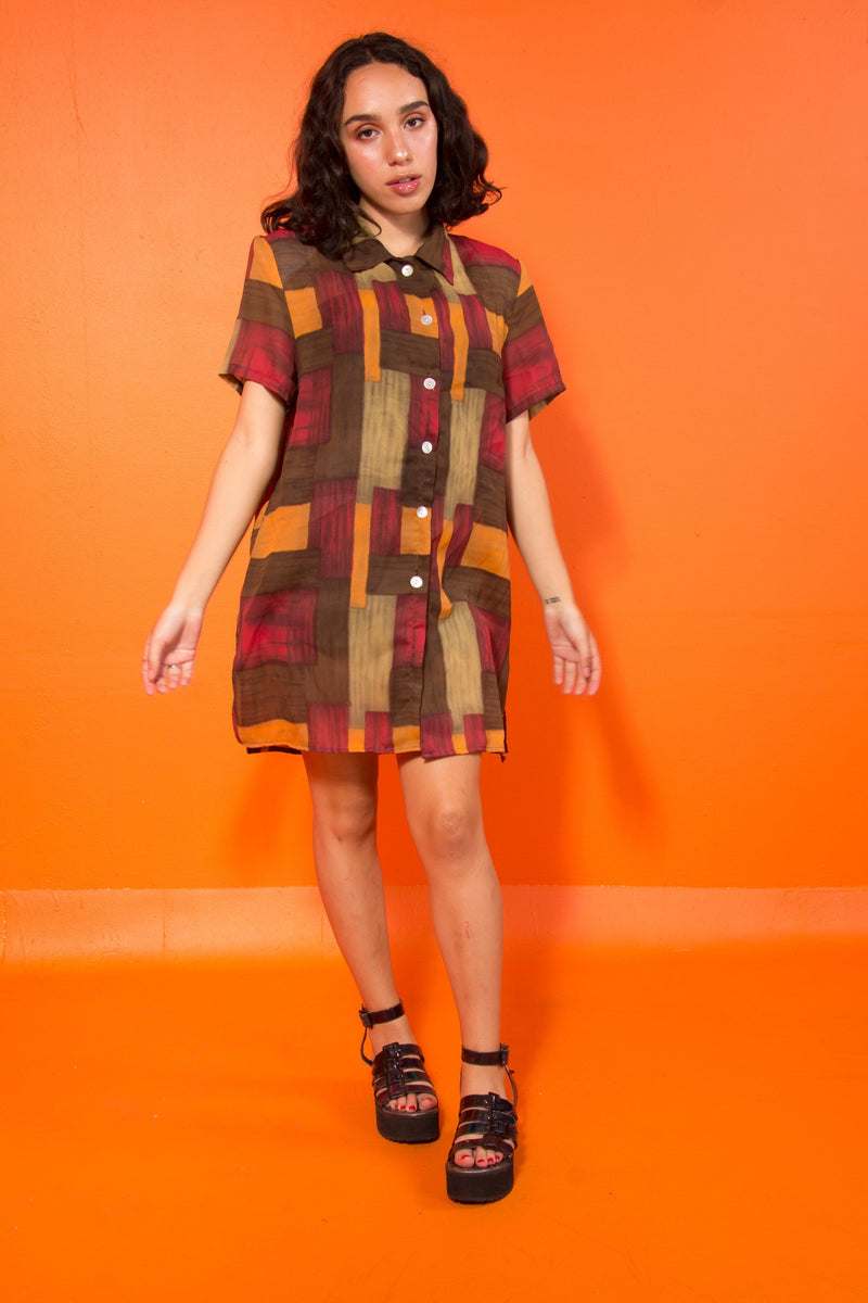 Vintage - sheer colorblock button up