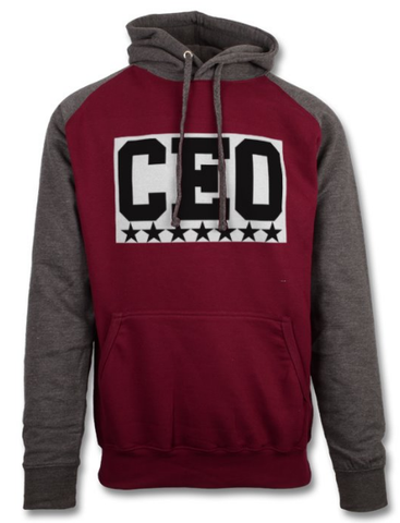 CEO Burgundy & Charcoal Baseball Hoodie