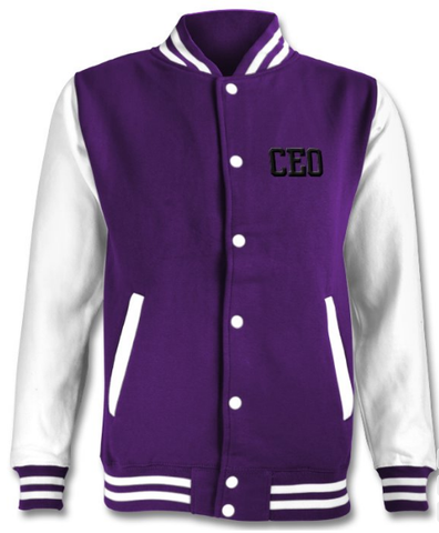 CEO Purple and White Varsity Jacket