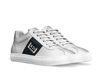 CEO WHITE SNEAKERS WITH BLACK SIDE TAPE