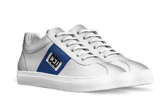 CEO WHITE SNEAKERS WITH SKY BLUE SIDE TAPE