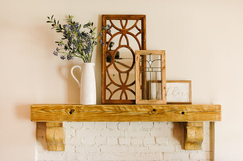 mantel with mirror and other pieces