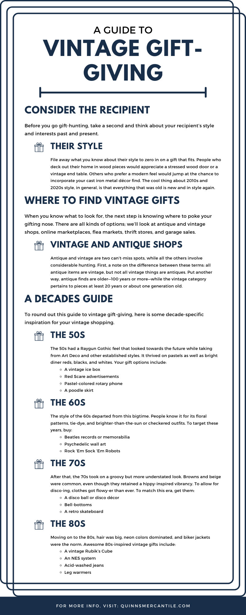 A Guide To Vintage Gift-Giving infographic