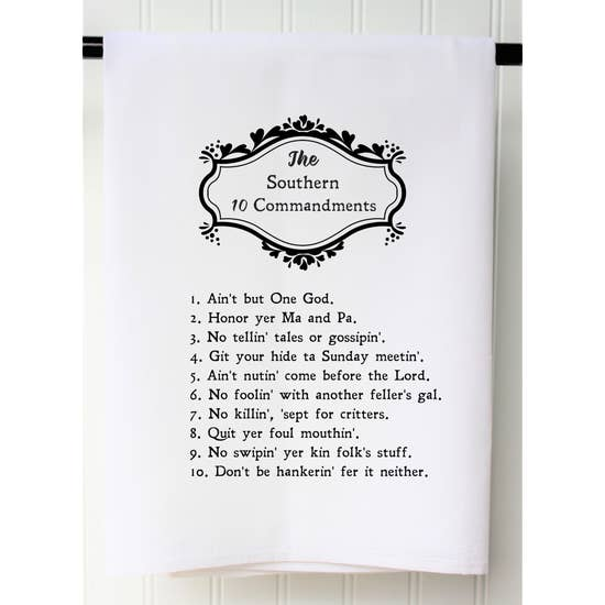 Flour Sack Towels-Textiles-Southern 10 Commandments-Quinn's Mercantile